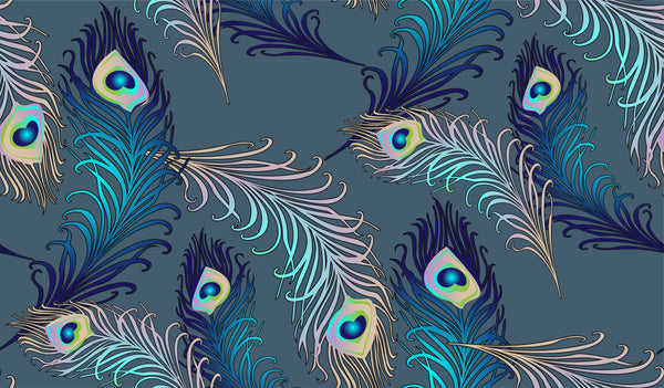 Bird Fabric, Peacock Fabric, Feathers on a dark Turquoise, Cotton or Fleece 3846 - Beautiful Quilt