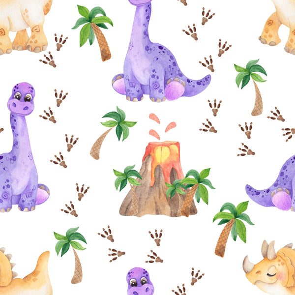 Dinosaur Fabric, Children's Fabric, Purple Dino's, Cotton or Fleece 2068 - Beautiful Quilt
