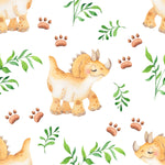 Dinosaur Fabric, Children's Dinosaur Fabric, Cute Cream Dino, Cotton or Fleece 2069 - Beautiful Quilt