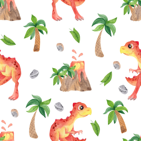Dinosaur Fabric Cute Red and Yellow Dinosaurs, Cotton or Fleece 2074 - Beautiful Quilt