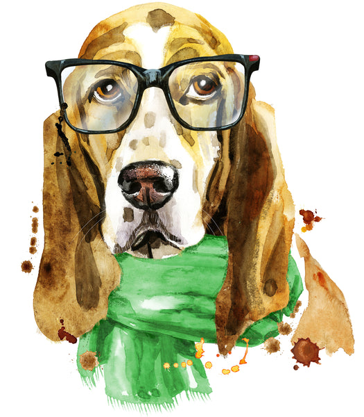 Dog Fabric, Smart Basset Hound, He has glasses, 2065 - Beautiful Quilt