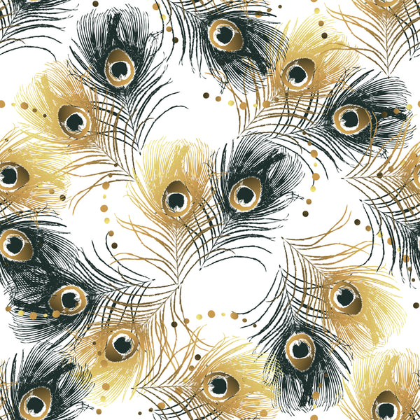 Bird Fabric, Peacock Fabric, Gold and Black, Cotton or Fleece 3847 - Beautiful Quilt