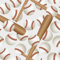 Baseball Fabric, Batts and Balls on White, Cotton or Fleece 1788 - Beautiful Quilt