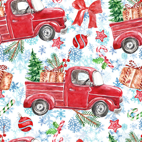 Christmas Fabric, Christmas Car Fabric, Cotton or Fleece 3330