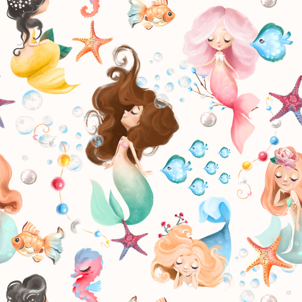 Children's Fabric, Mermaid Fabric, Cotton or Fleece on white 2253 - Beautiful Quilt