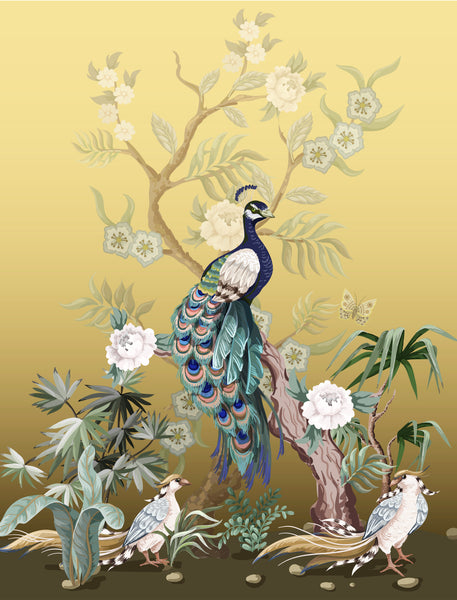 Asian Fabric, Peacock on Gold Fabric Panel 3849 - Beautiful Quilt