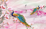 Asian Fabric, Peacock on Fabric Panel on Pink 3850 - Beautiful Quilt