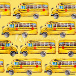 School Bus Fabric, Yellow School Bus on Yellow, Cotton or Fleece, 3423 - Beautiful Quilt