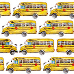 School Bus Fabric, Yellow School Bus on White, Cotton or Fleece, 3422 - Beautiful Quilt