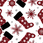 Christmas Fabric, Christmas Stockings Red and Black, Cotton or Fleece, 3331 - Beautiful Quilt