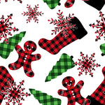 Christmas Fabric, Stockings, Trees, Gingerbread Men, Cotton or Fleece, 3332 - Beautiful Quilt