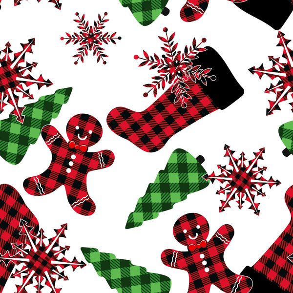 Christmas Fabric, Stockings, Trees, Gingerbread Men, Cotton or Fleece, 3332