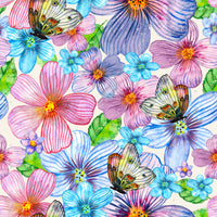 Bug Fabric, Butterfly Fabric, Flower Fabric, cotton or fleece 1582 - Beautiful Quilt