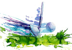Sports Fabric, Golf Fabric, Watercolor, Club Hits Ball 1240