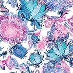 Flower Fabric, Teal, blue and rose colored Flower Fabric, 1564