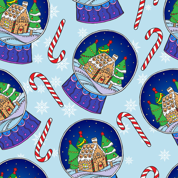 Christmas Fabric, Snow Globe and Candy Cane fabric, Cotton or Fleece 3347 - Beautiful Quilt