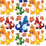 Dragon Fabric, Mean Cartoon Dragon Fabric, Cotton or Fleece, 2029 - Beautiful Quilt