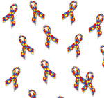 Autism Awareness Ribbon Fabric, Cotton or Fleece 1671 - Beautiful Quilt