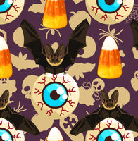 Halloween Fabric, Eyeballs, Bats and Candy Corn Fabric, Cotton or Fleece 1926 - Beautiful Quilt