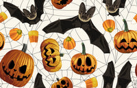 Halloween Fabric, Bats and Pumpkins on white, Cotton or Fleece, 1923 - Beautiful Quilt