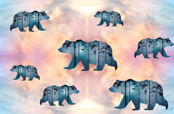 Bear Fabric, Blue Bear Sihouette Fabric on a pastel background, Cotton or Fleece 1581 - Beautiful Quilt