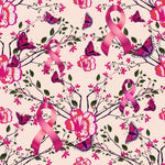 Cancer Fabric, Breast Cancer Fabric, Flowers Butterflies and Ribbons, Cotton and Fleece Fabric 7114 - Beautiful Quilt