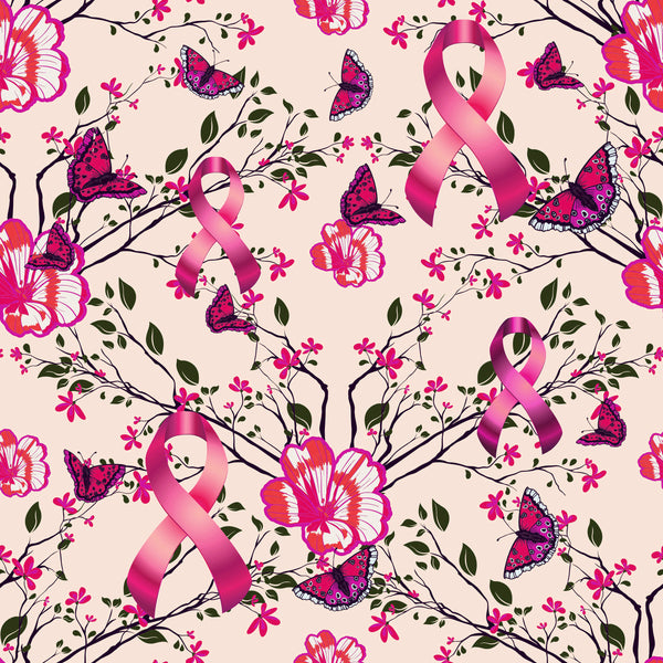 Cancer Fabric, Breast Cancer Fabric, Custom Print Fabric, Flowers Butterflies and Ribbons 7114 - Beautiful Quilt