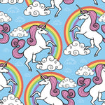 Children's Fabric, Unicorn Fabric with rainbow on blue 1400