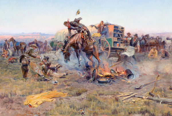 Western Fabric, Horse Bucking Fabric in campfire by Charles Russell 1984