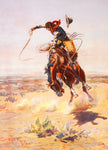 Western Fabric, Bucking Horse by Charles Russell 1156