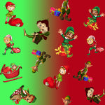 Christmas Fabric, Novelty Elf Fabric 476