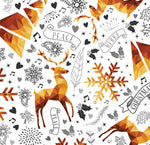 Christmas Fabric, Reindeer and snowflakes 1143 - Beautiful Quilt