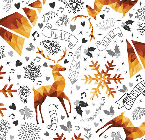 Christmas Fabric, Reindeer and snowflakes 1143