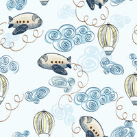 Baby Fabric, Boy Fabric, Airplane and Air Balloon Fabric, Cotton or Fleece, 635 - Beautiful Quilt