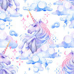 Children's Fabric, Watercolor Unicorn Fabric, Blue/Purple, Cotton or Fleece 2084 - Beautiful Quilt