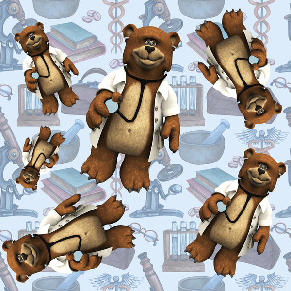 Medical Fabric, Teddy Bear Doctors on Blue, Cotton, Fleece or Canvas 2240 - Beautiful Quilt