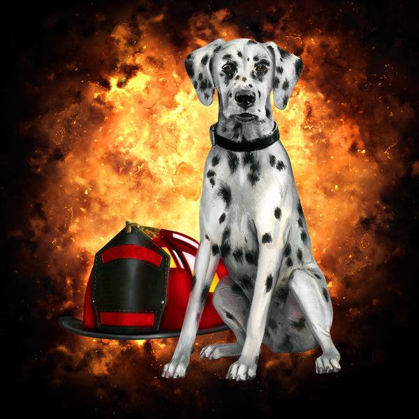Fire Fighter Fabric, Dalmatian Fabric Panel with helmet 1608 - Beautiful Quilt