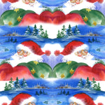 Christmas Fabric, Santa Fabric, Double Santa's, Cotton or Fleece, 2039 - Beautiful Quilt