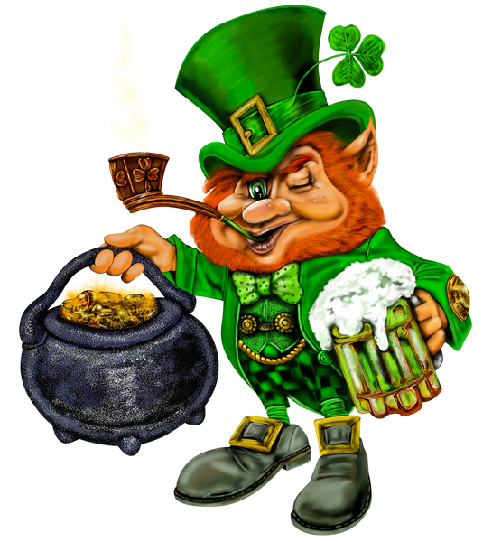 St Patrick Fabric, A Leprechaun with a brew and pot of gold fabric panel 1652