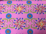 Flannel Fabric, Fabri-Quilt Fabric, Medallion Pink 7221