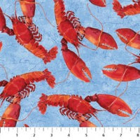 Beach Fabric, Lobster Fabric, Fresh Catch, Lobsters 7210 - Beautiful Quilt