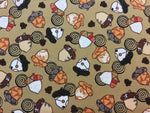 Z Flower Fabric, Walk in the Woods, Acorn Fabric 7151