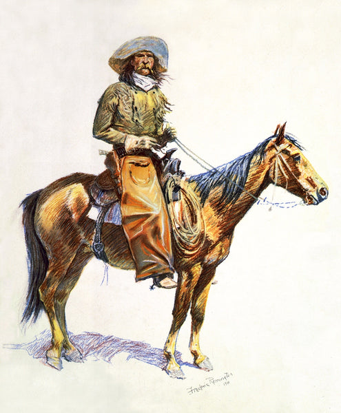 Western Fabric Cowboy on Horse by Frederic Remington 1158