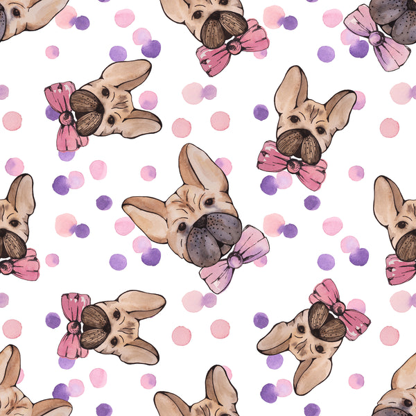 Dog Fabric, French Bull Dog Fabric aka Frenchi, Pink & Purple, Cotton or Fleece 2047 - Beautiful Quilt