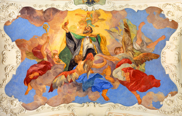 Angel Fabric, Fresco of St Augustine Fabric Panel, 1855 - Beautiful Quilt