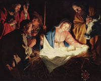 Religious Fabric Panel, Nativity Fabric Panel by Gerard Honthorst 1273
