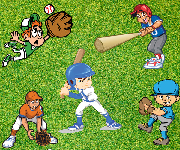 Baseball Fabric, Little League Players Fabric, Cotton or Fleece 1757 - Beautiful Quilt
