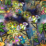 Religious Fabric, Nativity Fabric, Watercolor 1296