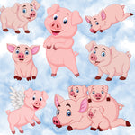 Children's Animal Fabric, Pig Fabric in the Sky, Cotton or Fleece 2013 - Beautiful Quilt