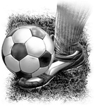 Soccer Fabric, Foot kicking the ball, Black and White 8004